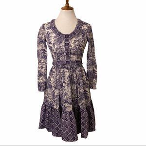 Vintage purple long sleeve prarie midi dress, XS